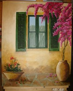 pinturas al oleo ventana - Buscar con Google Stencil Wall Art, Mural Wall Art, Plant Painting, Mural Painting, Garden Fence Art, Easy Paintings, Pictures To Paint, Bougainvillea, Sheds