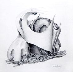 """Obsesión""  - Heriberto Zorrilla - Lápiz sobre papel – 40 x 27 cm- 1979 www.esencialismo.com"