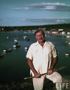 """Ernest Hemingway stands near a Cuban fishing village not unlike the one portrayed in his 1952 novel, """"Old Man and the Sea,"""" which I reread over the weekend while on the Jersey Shore.  LIFE's Alfred Eisenstaedt snapped this image in August 1952."""