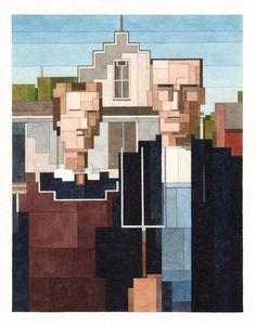 Adam Lister's '8-Bit' Watercolor Paintings Inspired By Famous Artworks http://designwrld.com/adam-lister-watercolor-paintings/