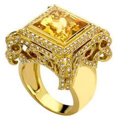 Theo Fennell Square Golden Beryl Pave Diamond Gold Scroll Ring