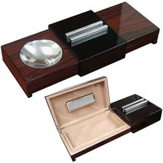 Simple. Sophisticated. Manly. This humidor and ashtray combo holds 5 to 7 cigars and is perfect for traveling or showing off your cigar