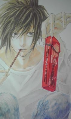 Death Note, L How?? I wanna draw like that... << Me too. It looks like he wants to play the Pocky game though. >:D<<don't worry guys, I'll play the pocky game with L.