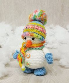 Free Crochet Pattern, snowman, amigurumi, stuffed toy, X-mas, winter, #haken, gratis patroon (Engels), sneeuwman, Kerstmis, decoratie, #haakpatroon