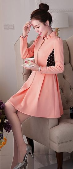 Pink A-line dress with front zipper YRB0657