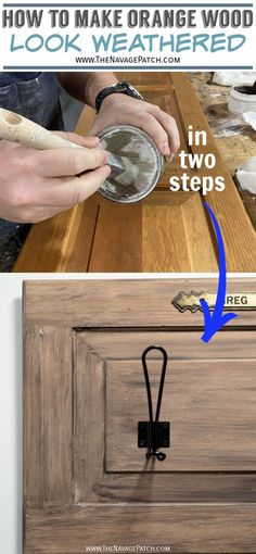 Upcycled Coat Rack From A Cabinet Door | How to get the aged wood look with wax - the easy way | How to get the Restoration Hardware look with wax | Easy DIY restoration Hardware weathered wood look | Cabinet door to coat rack | Easy aged wood look | How to upcycle a cabinet door | Repurposed cabinet door | #TheNavagePatch #DIY #easydiy #HowTo #Upcycled #Repurposed #homedecor #farmhouse #inexpensive #weathered #organization | TheNavagePatch.com