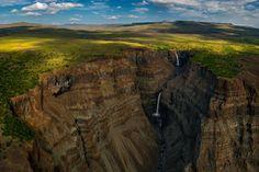 The Kanda Falls cascade to waters below in Plateau Putorana in Siberia's Putoransky Zapovednik, established in 1988. The region is also home to elk, wolf, skunk bear, Putorana bighorn sheep, reindeer, and brown bear.