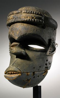 Africa | Mask from Ibibio people of Eastern Nigeria | Wood, pigment and natural fiber