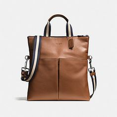 Coach Charles Foldover Tote in Smooth Leather (Dark Saddle) - CWH. Men's Backpack, Leather Backpack, Leather Bags, Smooth Leather, Calf Leather, Ankara Bags, Coach Outlet, Briefcase For Men, Dolce And Gabbana Man