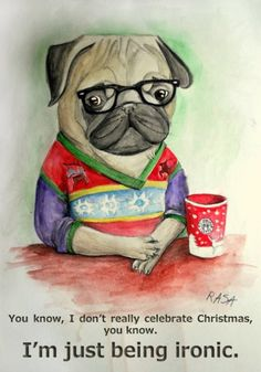 Paintings Of Pugs | pug, ironic pug, art, painting of a pug, dogs in glasses, ironic art ...