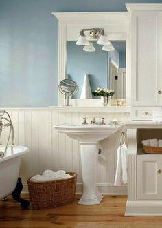light blue on white wainscoting bathroom Craftsman Bathroom, Wainscoting Bathroom, Basement Bathroom, Bathroom Flooring, Master Bathroom, Seaside Bathroom, Cottage Bathrooms, White Bathrooms, Coastal Bathrooms
