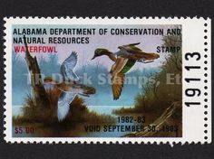 AL4 1982 Green-winged Teal Artist: Joe Michelet Alabama Dept of Conservation and Natural Resources Stamp