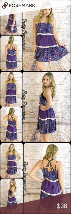 "NWT Purple Printed Crochet Trim Slip Dress Available in S, M, L Measurements taken from a Small Length: 36"" Bust: 34"" Waist: 32"" 