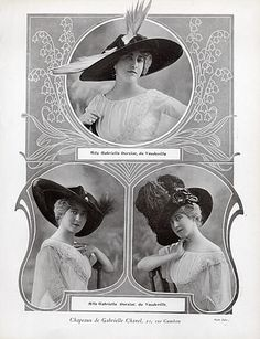 Vintage Advertising: Chanel (Hats) 1911 Gabrielle Dorziat
