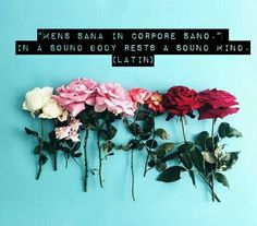"""Mens sana in corpore sano."" - In a sound body rests a sound mind. (Latin)"