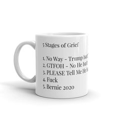 Personally, we are still stuck in the first stage, but kudos to you that have advanced to the fourth stage and beyond. This is an 11oz ceramic coffee mug, the perfect size for just the right amount of