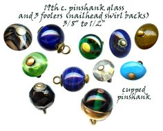 19th c. Pin-shank Glass Buttons.  Photograph R C Larner