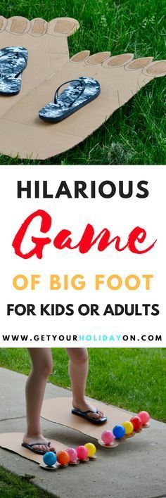 Hilarious & Funny Bigfoot Game for kids or adults! Play inside or outdoors, at a party, in the backyard, or at a carnival. kids party games How To Play Hilarious Bigfoot Game Kids or Adults Summer Party Games, Kids Birthday Party Games, Family Party Games, Childrens Party Games, Indoor Party Games, Games To Play With Kids, Birthday Party Games For Kids, Summer Camp Games, Group Games For Kids
