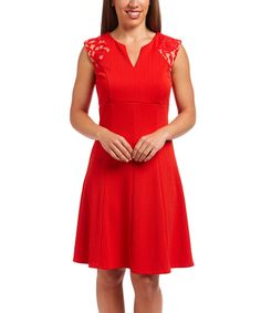 Look at this Red Lace-Accent A-Line Dress on #zulily today!