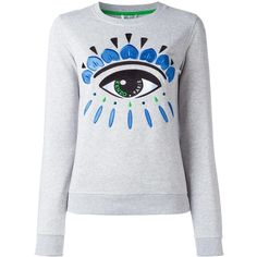 Kenzo Eye sweatshirt (£215) ❤ liked on Polyvore featuring tops, hoodies, sweatshirts, grey, long sleeve cotton tops, grey top, grey ribbed top, kenzo sweatshirt and ribbed top