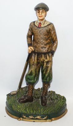 Highly Detailed CAST IRON GOLF DOOR STOP with Golfer Figure, Large & Very Heavy!