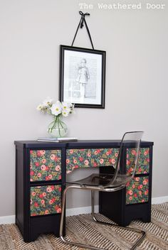 The Weathered Door: Adding Paper to Furniture: a navy desk with flower patterned paper