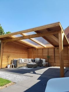 Covered pergola patio ideas with shades and roof for backyards, porches, and decks wood an two panel Wood Pergola, Patio Gazebo, Patio Canopy, Garden Gazebo, Pergola With Roof, Covered Pergola, Balcony Garden, Backyard Patio, Backyard Landscaping