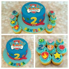 RT @Sweetjesscakes: Paw patrol cake and cupcakes to match. http://t.co/gJl5TbL15d