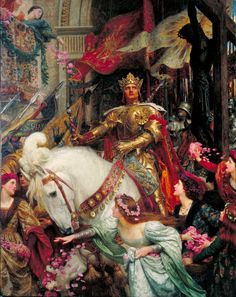 The Two Crowns [in case it's not clear, this is an allegory of the contrast between earthly and  spiritual power; one crown is of gold, worn by the king on horseback,  and one is of thorns, worn by the Christ in the statue at right]  by Sir Francis Bernard Dicksee (1853-1928) was a painter and illustrator, the son of Thomas Francis Dicksee. He appears to be stylistically linked to the Pre-Raphaelites.