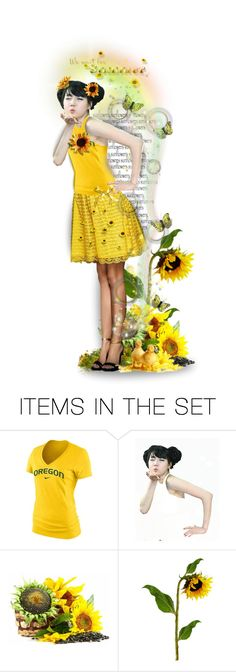 """Kisses From Miss Sunflower :)"" by mari-777 ❤ liked on Polyvore featuring art, happy, yellow, doll and sunflower"