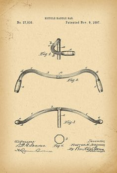 1897 Patent Velocipede handle bar Bicycle history invention by Khokhloma Bicycle Drawing, Bicycle Painting, Velo Vintage, Vintage Bicycles, Bicicletas Raleigh, Bike Components, Retro Bicycle, Drift Trike, Muscle Power
