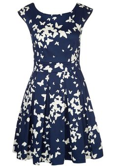 Closet Summer dress - navy cream for with free delivery at Zalando Wish Dresses, Pretty Dresses, Short Long Dresses, Short Sleeve Dresses, Blue And White Summer Dresses, Blue Party Dress, Butterfly Dress, Mode Chic, Big Girl Fashion