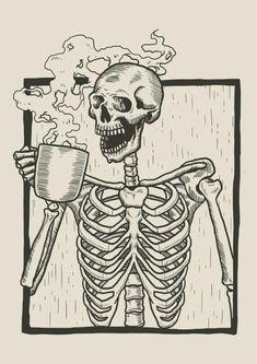 coffee art Skeleton Linocut Drink Coffee V - coffee Skeleton Flower, Cat Skeleton, Skeleton Drawings, Skeleton Makeup, Dinosaur Skeleton, Skull Makeup, Skeleton Costumes, Skeleton Anatomy, Skull Art