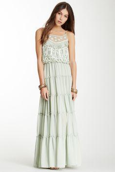 Stardust Mesh Trim Embellished Maxi Dress