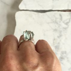 The @freybee ring had a little holiday in the studio for some 💙 rough aquamarine with sterling silver. #roughaquamarine #bespokering #tessablazey