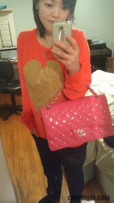 Chanel Hot Pink Fuschia Patent Leather Jumbo Classic Flap bag
