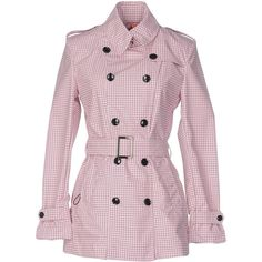 Rrd Overcoat (€115) ❤ liked on Polyvore featuring outerwear, coats, pink, floral print coat, double breasted overcoat, pink trench coat, pink coats and double breasted coat
