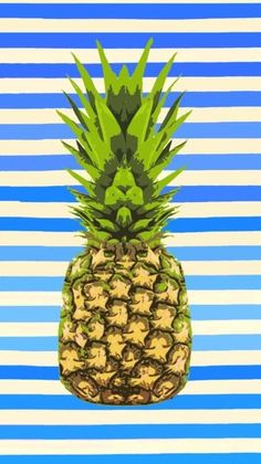 Pineapple - Original Art Print Blue and White Stripes Colorful Kitchen Art 11 x 14 Green Fruit Pop Art bright happy summer beach australia Illustrations, Illustration Art, Pineapple Illustration, Pop Art, Pineapple Art, Pineapple Wallpaper, Fashion Magazin, Kirigami, Poster