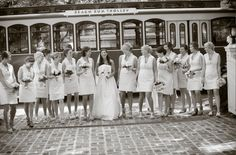 AK Brides - Wedding Planning Services - Bride and her Bridesmaids ready to board their beach bum trolly at this beach wedding.  Thank you Jerrod Brown Studios Birmingham AL