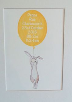 personalised floating rabbit and balloon- nursery art - hand drawn illustration, childrens room decor - wall art - baby gift