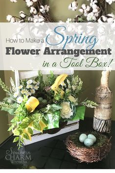 How to make a simple spring flower arrangement in a tool box. In this video I show you step by step how to arrange the flowers and tricks to make sure your focal point doesn't get lost. By Southern Charm Wreaths Spring Flower Arrangements, Spring Flowers, Flowers Garden, Floral Arrangements, Floral Centerpieces, Diy Flowers, Fresh Flowers, Purple Flowers, White Flowers