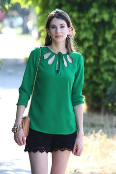 Emerald and Ebony.  Green blouse with black lace shorts