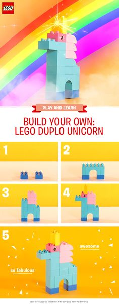 Building this magical unicorn is the perfect activity for your pre-schooler. Use the most vibrant and colorful LEGO DUPLO bricks you have available to make your new friend look really incredible! Anything goes – encourage your child to mix and match and create their own unique designs. If you've got lots of bricks to hand, you could even make a family of unicorns and use a LEGO DUPLO baseboard to create a little garden for them to live in. Fabulous!