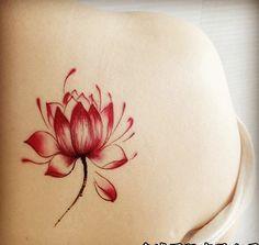 Red lotus flower temporary tattoos waterproof tattoo sticker for men women arm leg body art painting