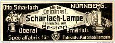 Original-Werbung/ Anzeige 1909 - SCHARLACH LAMPE FÜR AUTO UND FAHRRAD - NÜRNBERG - ca. 80 x 30 mm