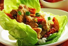 Marinated Ginger Chicken Wrap Change canola oil to avocado oil, iceberg lettuce to romaine or red leaf, white rice to brown or other grain, sugar to stevia. Skinny Recipes, Healthy Recipes, Healthy Options, Rice Recipes, Diabetic Recipes, Healthy Meals, Delicious Recipes, Healthy Food, Dinner Recipes