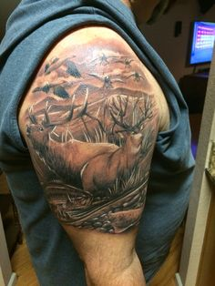 Hunting Tattoo, Wildlife Tattoo, Deer Tattoo, Elk Tattoo