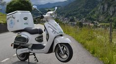 The Kumpan Electric 1954L poses in the Swiss Alps