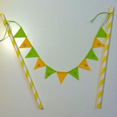 Green and Yellow Swedish Glad Påsk mini cake bunting by Emma Bunting, www.emma-bunting.co.uk