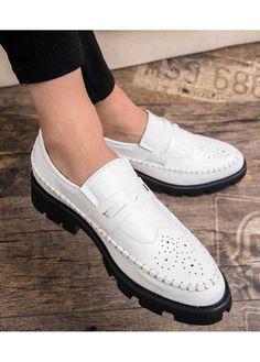 White patent leather brogue slip on dress shoe Best White Shoes, Best White Sneakers, Best Shoes For Men, Leather Brogues, Leather Slip On Shoes, Patent Leather, Men's Shoes, Shoe Boots, Dress Shoes
